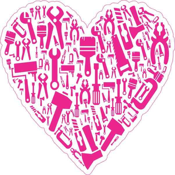 Pink Tool Heart Sticker