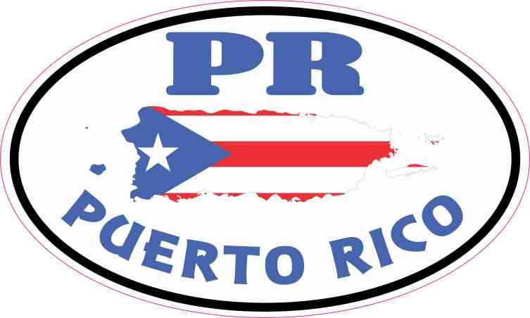Oval PR Puerto Rico Sticker