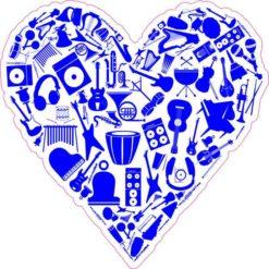 Blue Instrument Heart Sticker