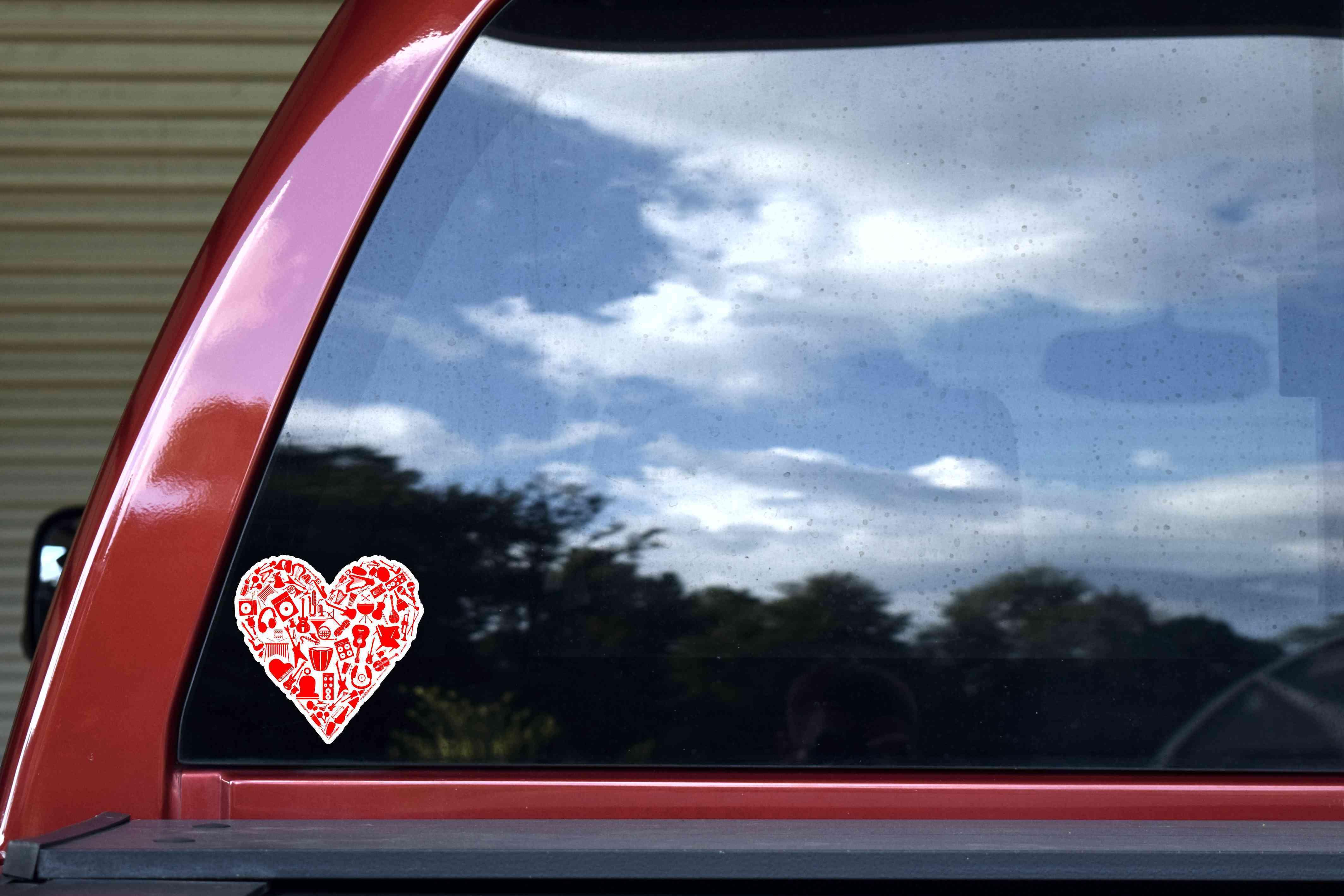 Red Instrument Heart Sticker