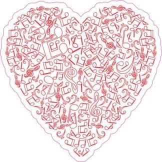 Red Music Heart Sticker