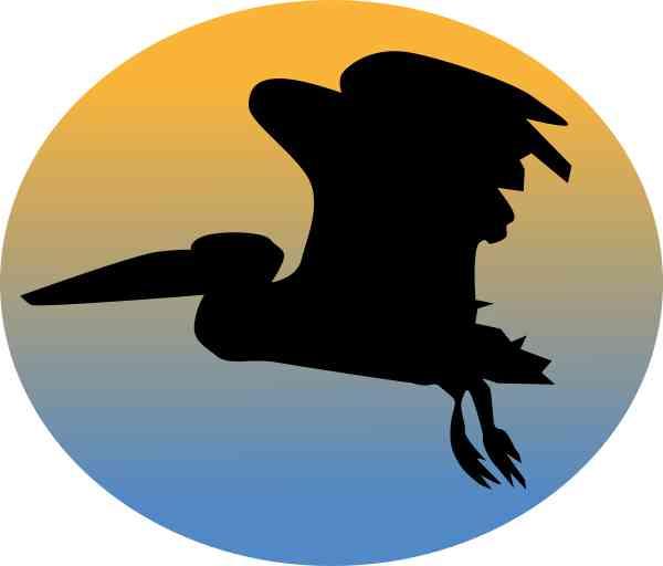 Oval Sunset Pelican Sticker