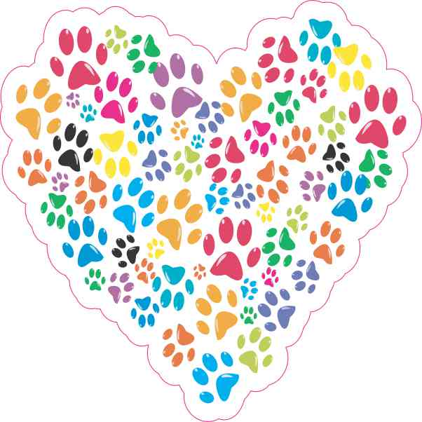 Paw Print Heart Sticker