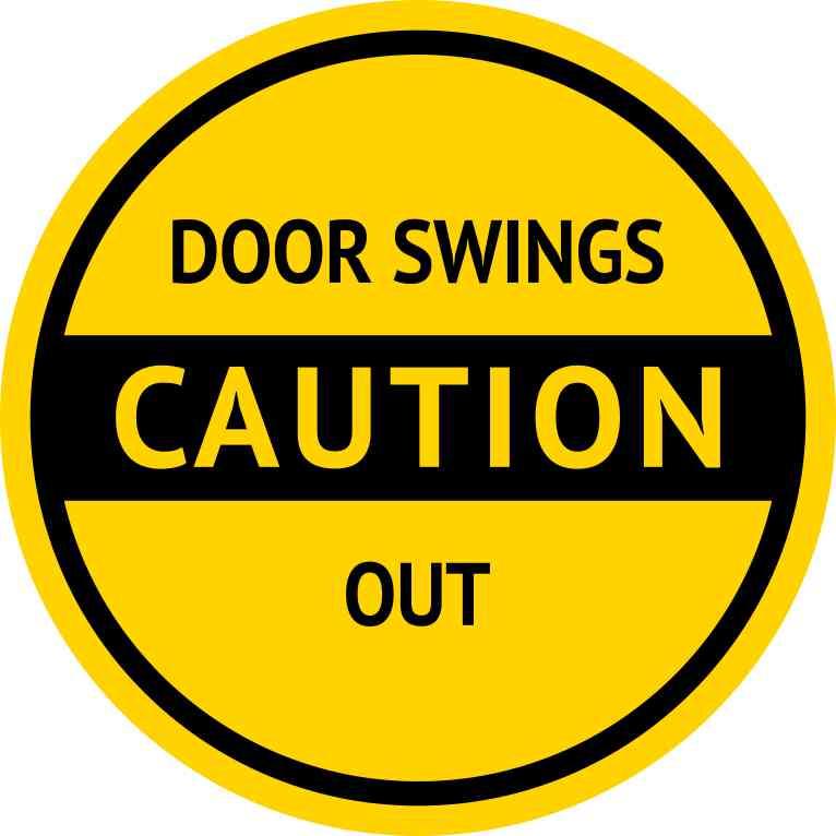 Inx in caution door swings out sticker vinyl business