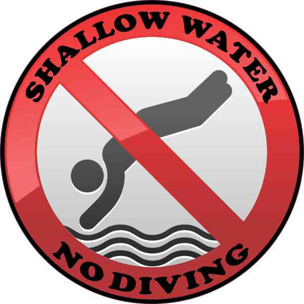 Shallow Water No Diving Sticker