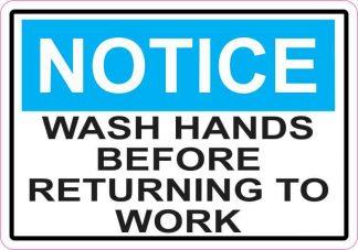Notice Wash Hands Before Returning To Work Sticker