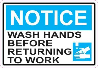 Picture Notice Wash Hands Before Returning To Work Sticker