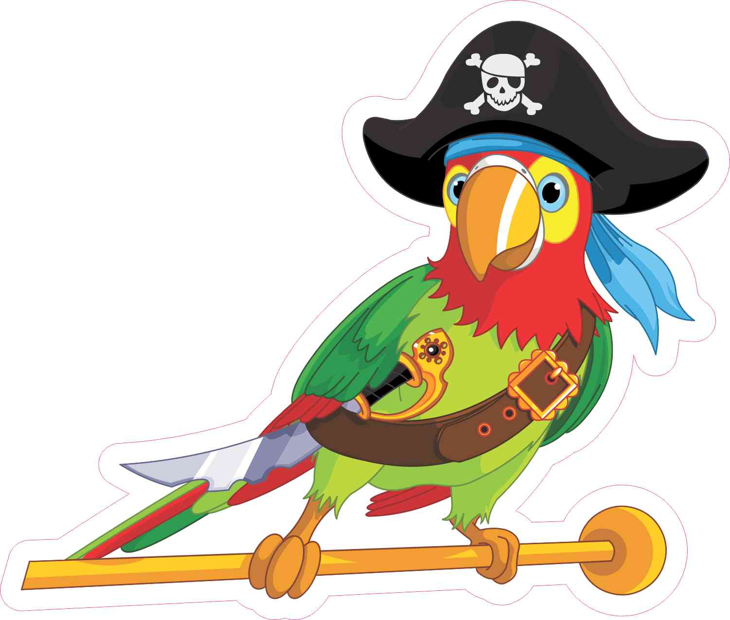 Left Facing Pirate Parrot Sticker