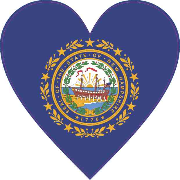 New Hampshire Flag Heart Sticker