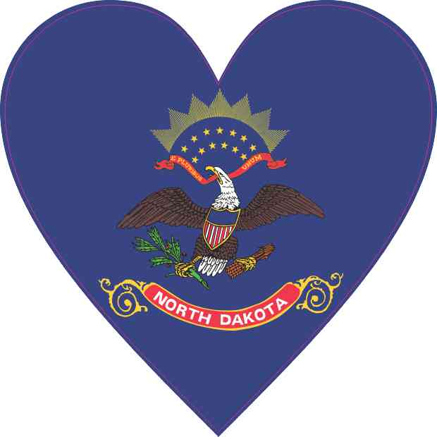 North Dakota Flag Heart Sticker