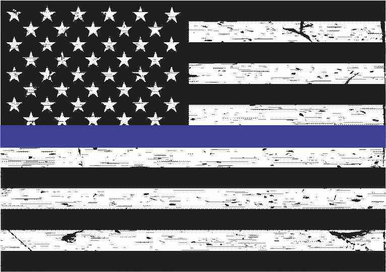 Black And White American Flag Blue Lives Matter Magnet