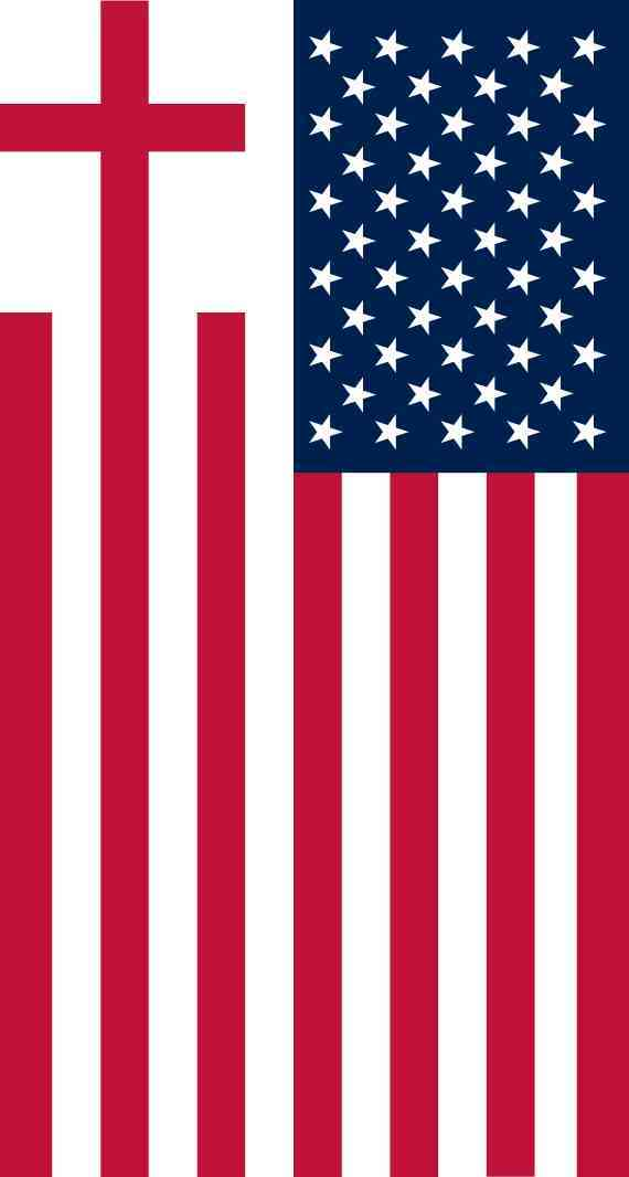 Cross American Flag Sticker
