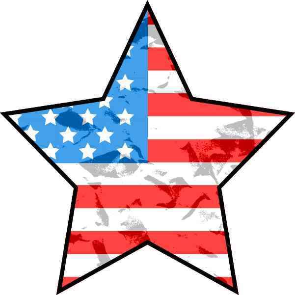 Grunge American Flag Star Sticker