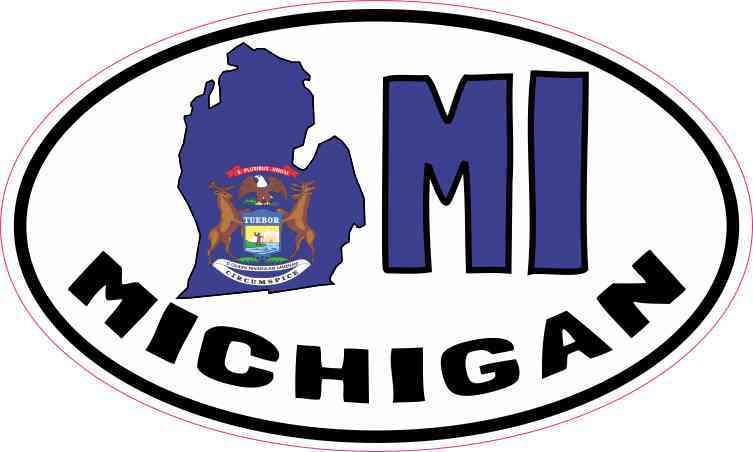 """Michigan MI White State Oval car window bumper sticker decal 5/"""" x 3/"""""""