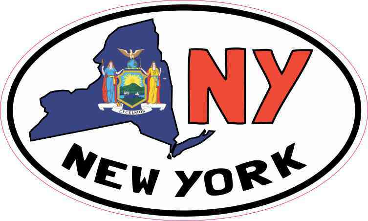 Oval NY New York Sticker