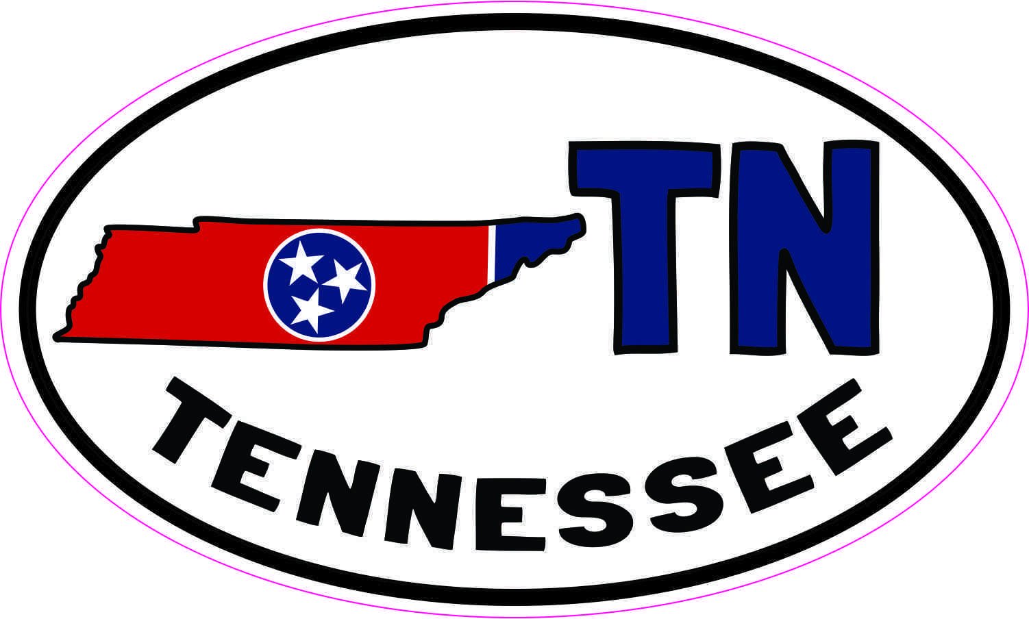 Oval TN Tennessee Sticker