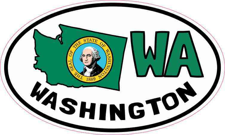 Oval WA Washington Sticker
