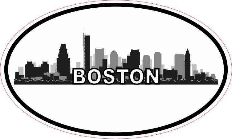 Oval Boston Skyline Sticker