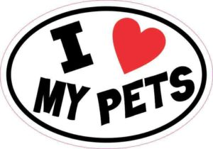 Oval I Love My Pets Sticker