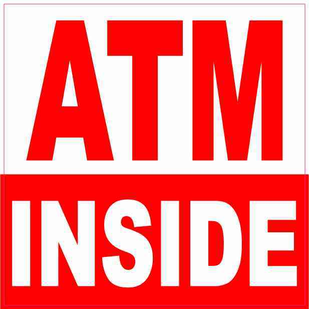 Red and White ATM Inside Sticker