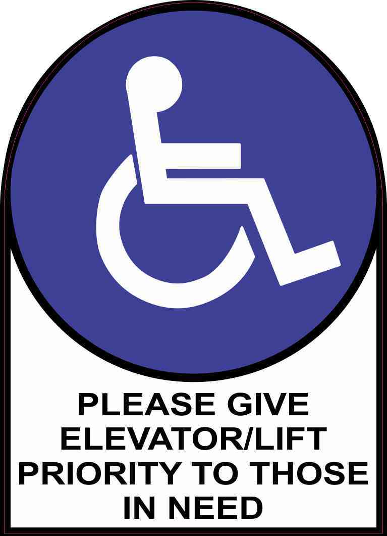 Please Give Elevator/Lift Priority to Those in Need Sticker