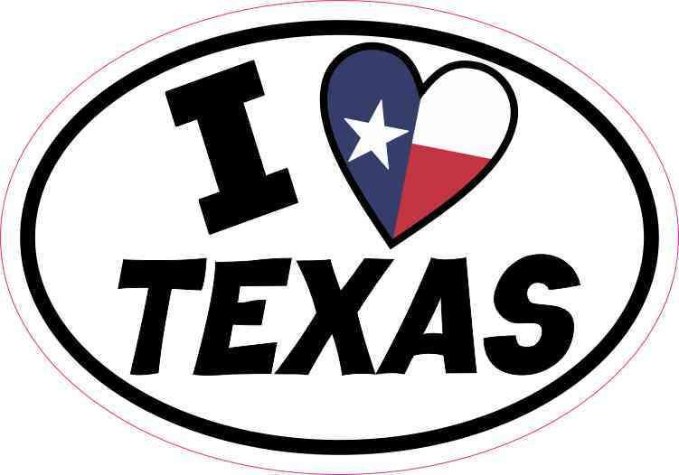 Oval I Love Texas Sticker
