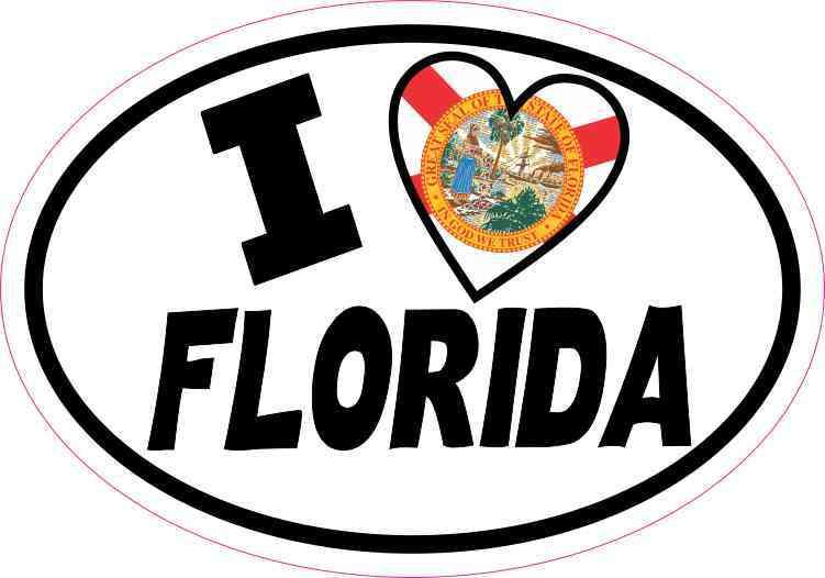 Oval I Love Florida Sticker