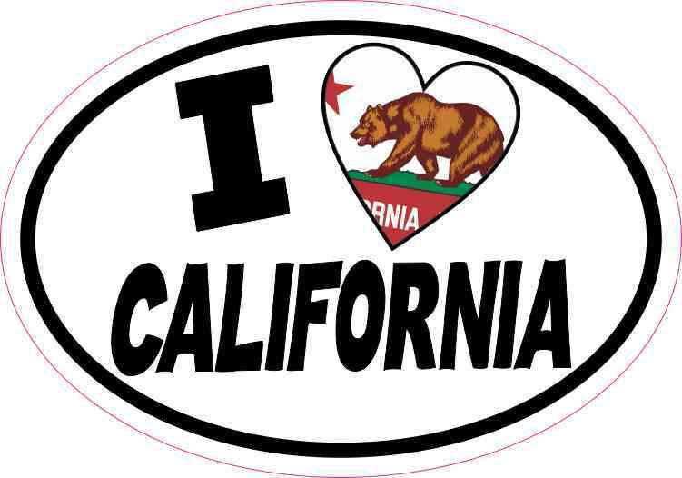 Oval I Love California Sticker