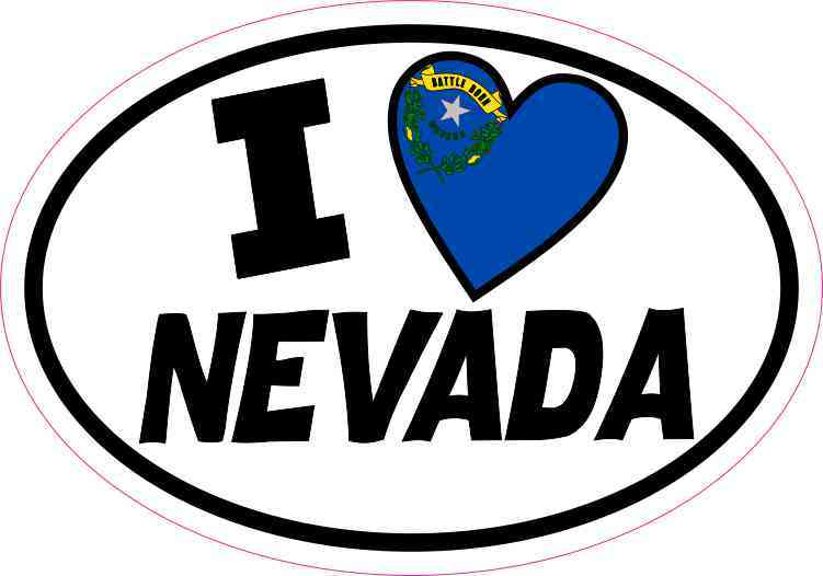 Oval I Love Nevada Sticker