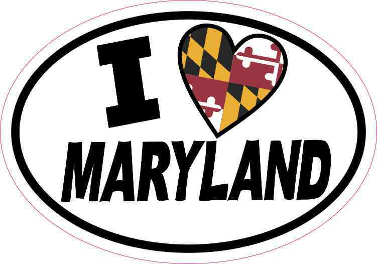 Oval I Love Maryland Sticker