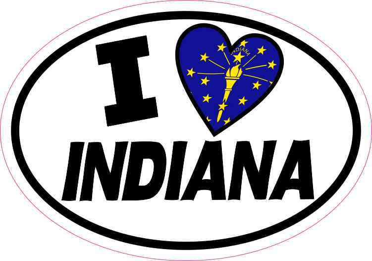 Oval I Love Indiana Sticker