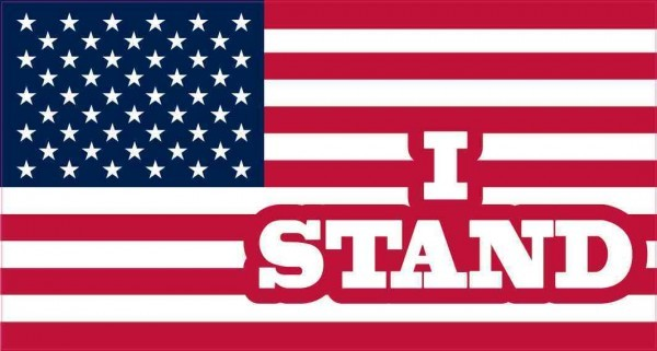 I Stand American Flag Sticker