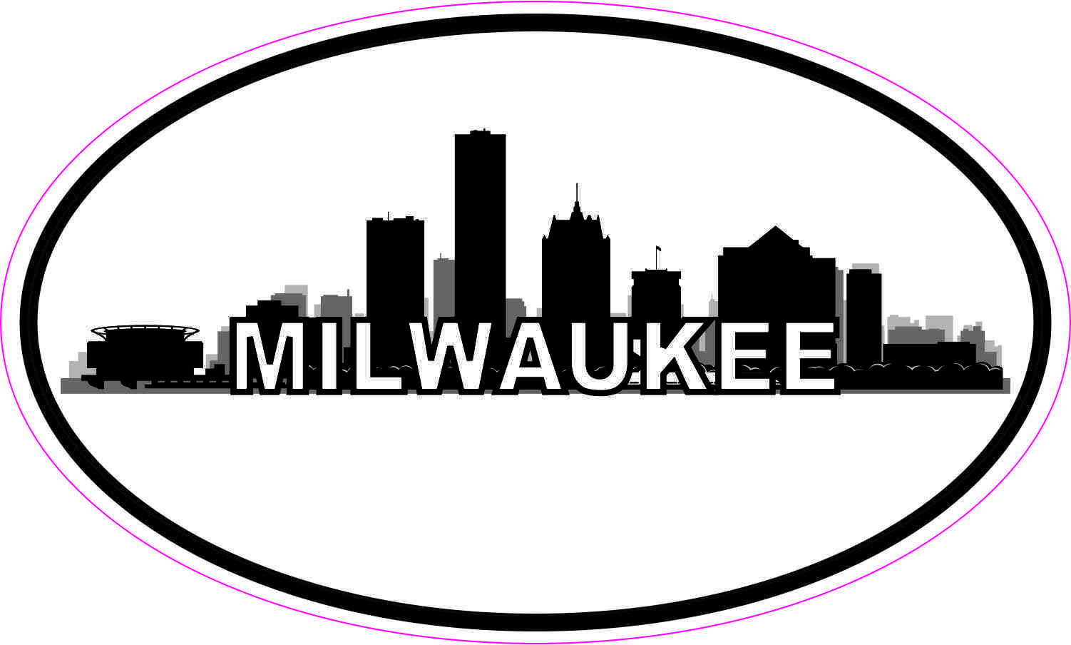 Oval Milwaukee Skyline Sticker
