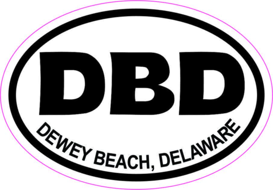 Inside Adhesive Oval DBD Dewey Beach Delaware Sticker