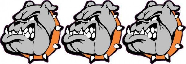 Orange Collared Bulldog Mascot Stickers