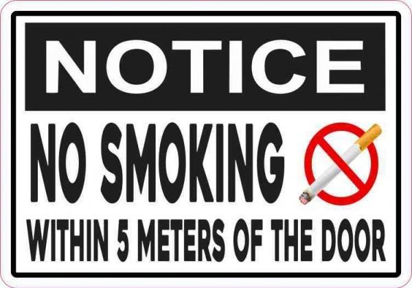 Notice No Smoking Within 5 Meters of the Door Magnet
