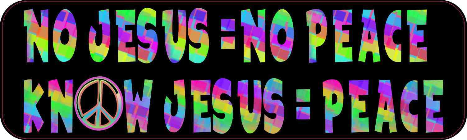 Colorful No Jesus No Peace Magnet