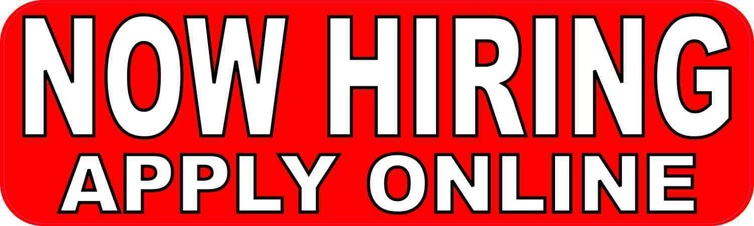 Now Hiring Apply Online Sticker