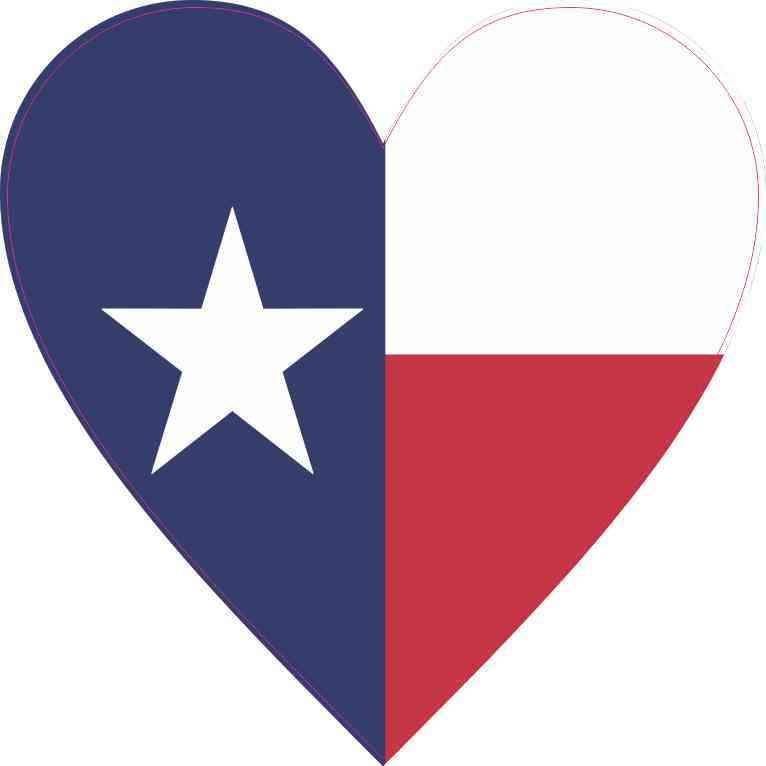 Texas Flag Heart Sticker