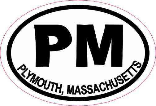 Oval PM Plymouth Massachusetts Sticker