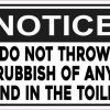 Notice Do Not Throw Rubbish of Any Kind in the Toilet Sticker