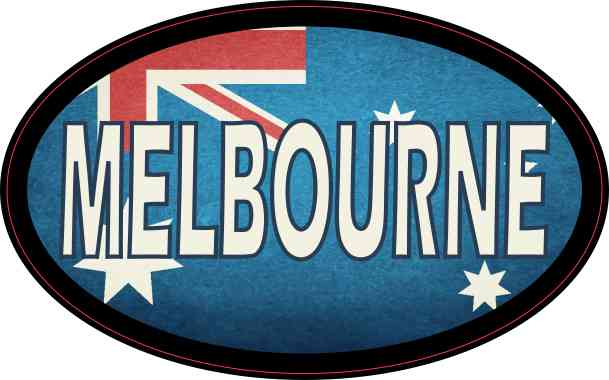 4inx2 5in oval australian flag melbourne sticker car truck vehicle bumper decal