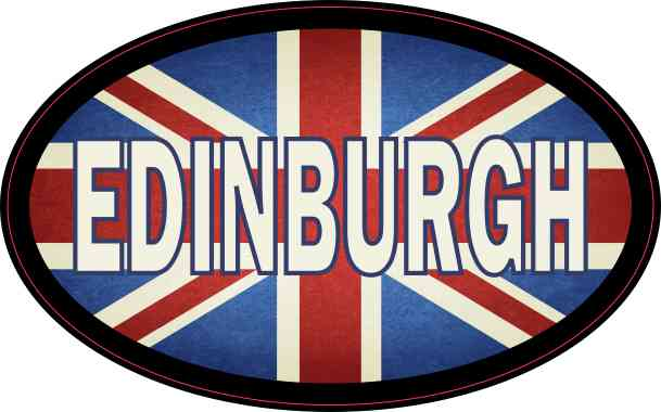 Oval UK Flag Edinburgh Sticker
