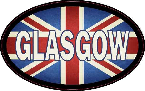 Oval UK Flag Glasgow Sticker