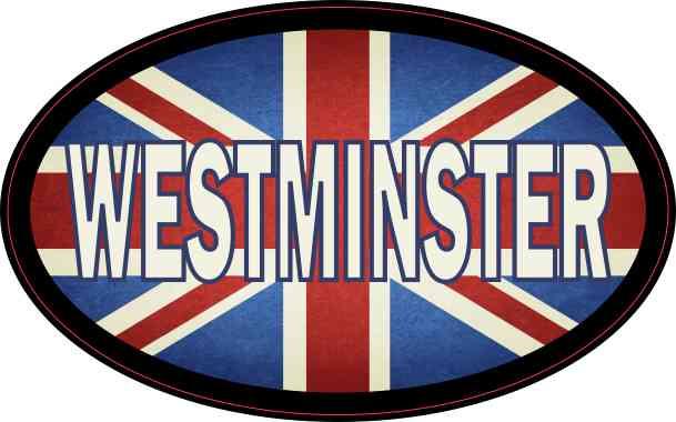 Oval UK Flag Westminster Sticker