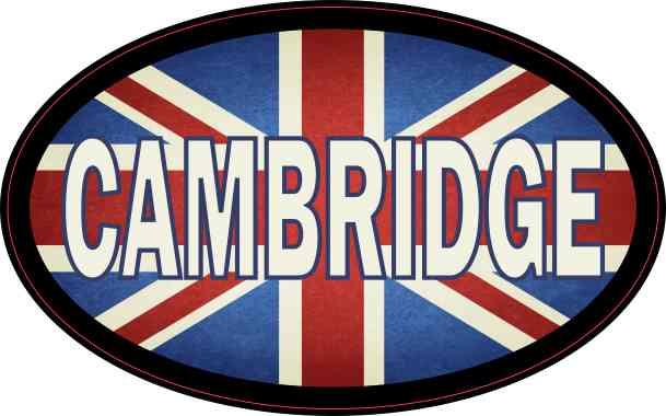 Oval UK Flag Cambridge Sticker