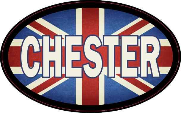 Oval UK Flag Chester Sticker