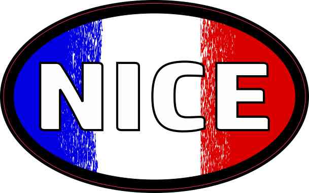 Oval French Flag Nice Sticker