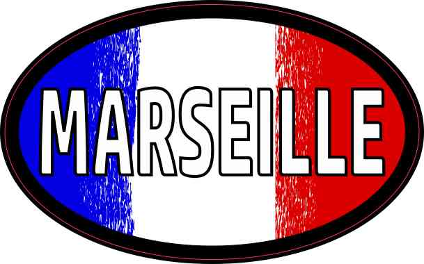 Oval French Flag Marseille Sticker