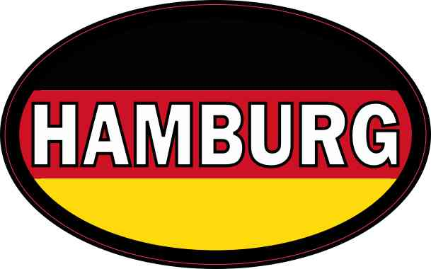 Oval German Flag Hamburg Sticker
